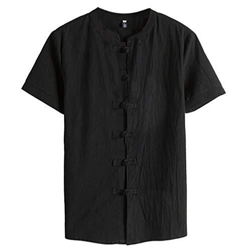 TOPUNDER Fashion Men's Cotton Linen Solid Short Sleeve Retro T Shirts Tops Blouse Black