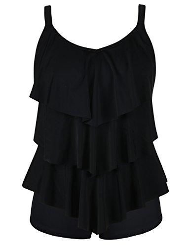 Septangle Women's Black Tankini Set Two Pieces Swimsuit with Bottom,US16