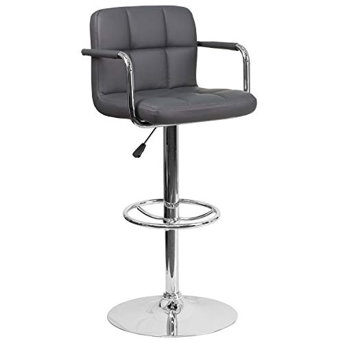 (OKSLO Contemporary quilted vinyl adjustable height barstool with arms and base model d467)