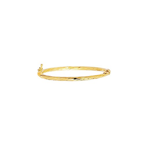 14k Yellow Gold 5.5 Inch Polish Finish Twist Girls Bangle Bracelet by Diamond Sphere
