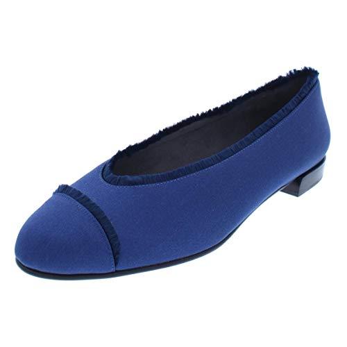 Stuart Weitzman Flat Heel - Stuart Weitzman Womens Captain Satin Fringe Dress Shoes Navy 6.5 Medium (B,M)