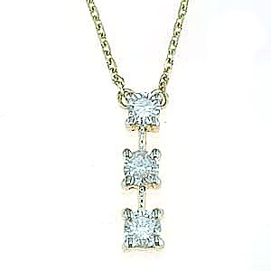 Amazon 14k yellow gold past present future 13 carat three 14k yellow gold past present future 13 carat three stone diamond necklace mozeypictures Image collections