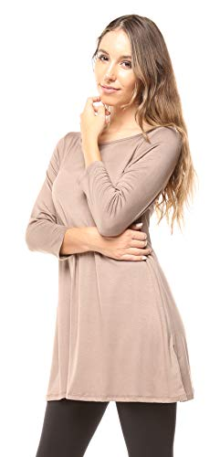 Free to Live Women's Flowy Elbow Sleeve Jersey Tunic Blouse Top Made in USA (XL, Mocha)