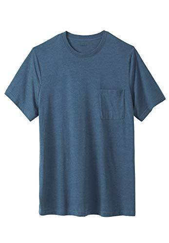 KingSize Men's Big & Tall Shrink-Less Lightweight Longer-Length Crewneck Pocket T-Shirt, Heather Slate Blue Tall-5XL