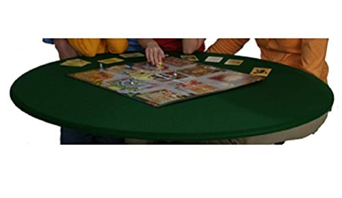 Fitted Round Elastic Edge Solid Green Felt Table Cover for Poker Puzzles Board Games Fits 36'' to 48'' Also Fits 36'' Square by Econotex (Image #2)