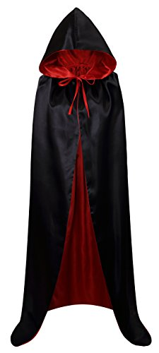VGLOOK Unisex Christmas Halloween Witch Party Reversible Hooded Adult Vampires Cape Cloak (Black/red)]()