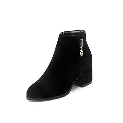 CXQ-Bottes QIN&X Les Talons Talon Bloc Court à Tête Ronde Boots Shoes,Black,41