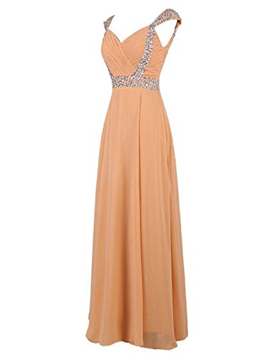 Fanciest Chiffon Beaded Cap Coral Women's Long Dresses Prom Gowns Sleeve Bridesmaid 4qw41OASr