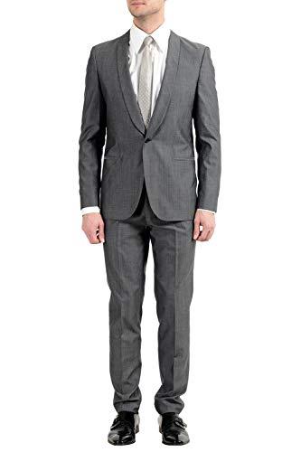 "Hugo Boss ""Arti/Hesten182 Men's Extra Slim Fit Wool Gray One Button Suit US 42R IT 52R"