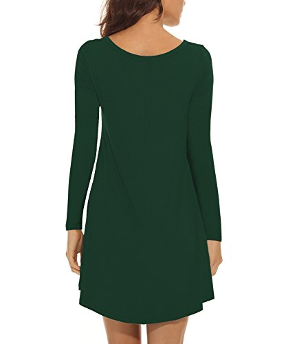 Verde Altalena Tasche Lunga Allentate Scuro Delle Maglietta A Manica Vestito Dalla Donne Lilbetter Breve Casual wIqBOOa