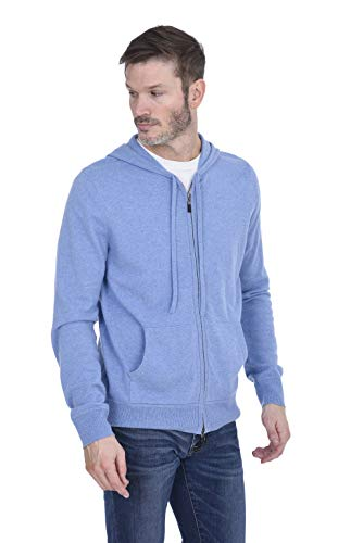 Cashmeren Men's 100% Pure Cashmere Full Zip Pullover Hoodie (Baby Blue, Large)