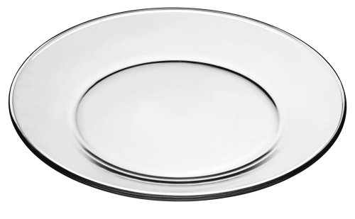 Libbey Crisa Moderno Dinner Plate, 10-1/2-Inch, Box of 12, Clear (Dinnerware Clear Glass Sets)