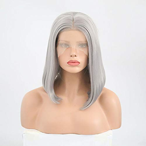 Eachann-Hsi Gray Bob Ladies Short Straight Centre Parting Wig, Synthetic Heat Resistant Lace Front Wig for Women Party Cosplay Costume Daily Use,14inch ()
