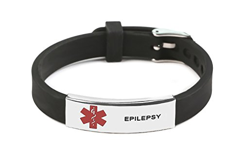 Epilepsy Medical Alert ID Rubber Silicone Bracelet Black Adjustable Size