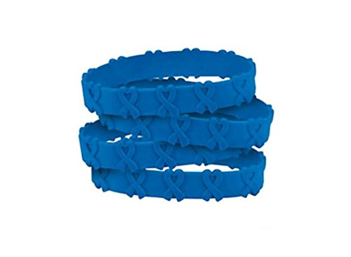 25 Blue Awareness Pop-Out Bracelets colon, colorectal cancer, child abuse, respiratory
