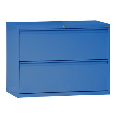 Sandusky Lee LF8F302-06 800 Series 2 Drawer Lateral File Cabinet, 19.25'' Depth x 28.375'' Height x 30'' Width, Blue by Sandusky