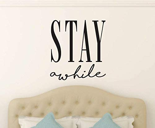 Amazon Com Littledollz Stay Awhile Wall Decal Stay Awhile Vinyl Sticker Guest Bedroom Vinyl Wall Decal Home Vinyl Wall Decal Stay Decal 22 Inch Kitchen Dining