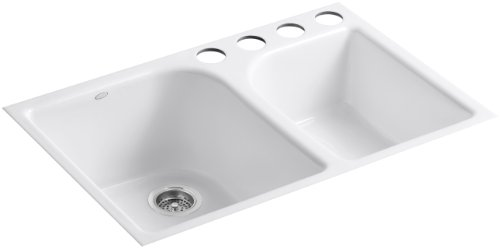Kohler K-5931-4U-0 Executive Chef Undercounter Kitchen Sink, White (Kohler Executive Chef Sink)
