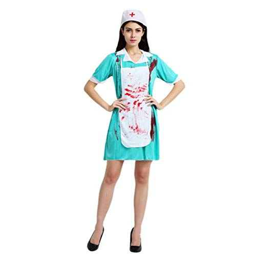 Alvivi Unisex Adult Surgery Doctor Bloody Nurse Outfits Halloween Cosplay Scary Scrub Costume Blue&White Women One Size -