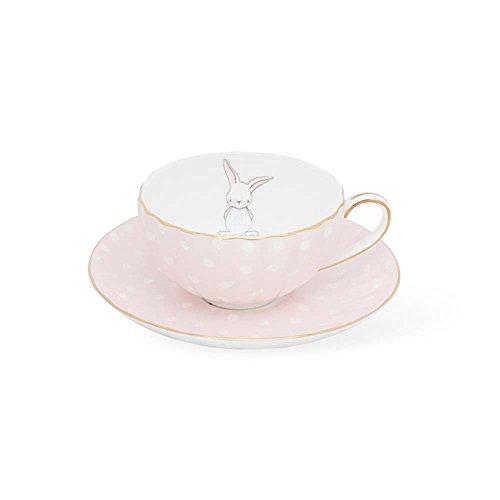 6.5 OZ Polka Dot Cute Rabbit Design Coffee Cup Saucer Sets | High Quality Bone China British Afternoon Black Tea Tea Cup Mug Kit (Light pink)