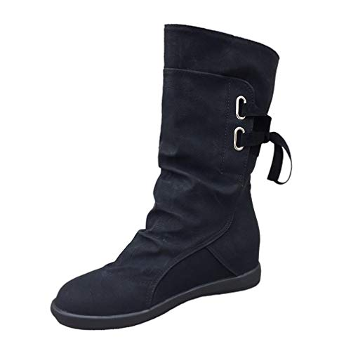 Lace Belt Straps Autumn Tassels Boots Retro British Martin Boots Middle Black Classic FALAIDUO Flat Ladies Buckle Winter Fashion CxqAwqBY
