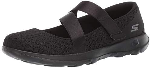 Skechers Women's GO Walk LITE-15467 Mary Jane Flat, Black, 5.5 M US