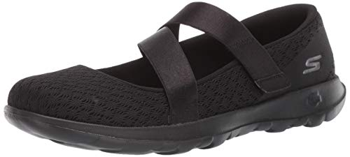 Jane Womens Flats Mary - Skechers Women's GO Walk LITE-15467 Mary Jane Flat Black 5 M US