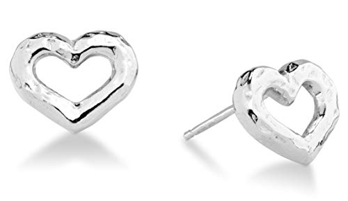 Mini Heart Post Earrings - MiaBella Sterling Silver Hammered Minimalist Dainty Love Open Heart Stud Earrings for Women Teen Girls 925 Sterling Silver or 18K Gold Over Silver Hypoallergenic Nickel Free(Sterling-Silver)