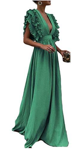Jaycargogo Des Femmes De Soirée Mancherons Col V Profond Partie Longue Maxi Robe Verte