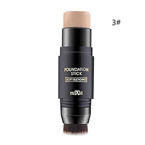 1Pcs Concealer Creamy Foundation Powder Face Makeup Highlighter Stick With Brush 3 -  MEZHLZ