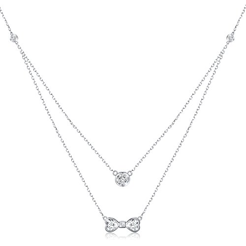 Double Bow Necklace (925S Sterling Silver Bowknot Layered Double Chain Choker Necklace for Girl Women)