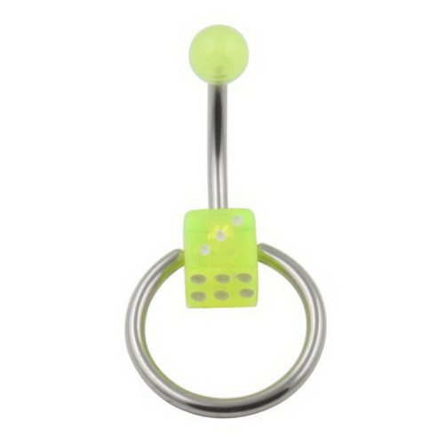 JewelryVolt 14g Acrylic Belly Button Ring - Dice