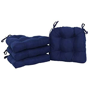 Mainstays Faux Suede Chair Pad with Ties, Set of 4, Indigo | Durable Polyester Fiber Chair Pad Set of 4 - Indigo