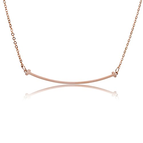 HUAN XUN Smile Bar Necklace Rose Gold High Polished Stainless Steel Pendant Jewelry ()