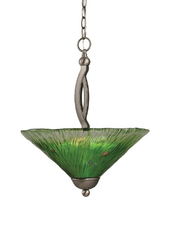 2 Light Uplight Pendant - Toltec Lighting 274-BN-717 Bow Two-Bulb Uplight Pendant Brushed Nickel with Kiwi Green Crystal Glass Shade, 16-Inch