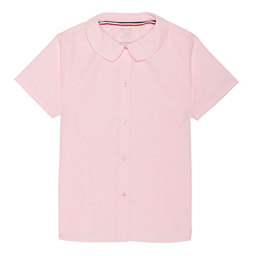 French Toast Big Girls' Short Sleeve Peter Pan Collar Blouse, Pink, 10 -