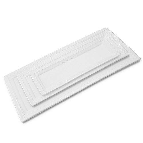 Unfinished Ceramic Platter 3 Packs, White & Rectangular Small,medium,large Material ()