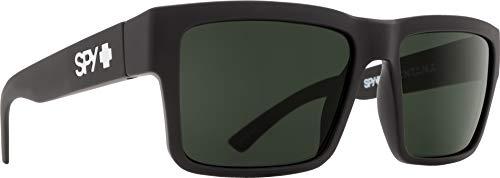 Spy Optic Men's Montana Square Sunglasses, Soft Matte Black/Happy Gray/Green, 1.5 ()