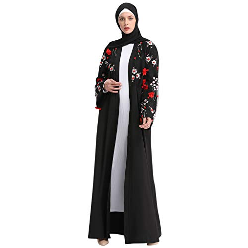 Casual Kaftan Party Long Dresses,Women's Muslim Robe Plus Size,Three-Dimensional Flower Embroidery Prayer Dress Outfit (Black, 2XL) ()