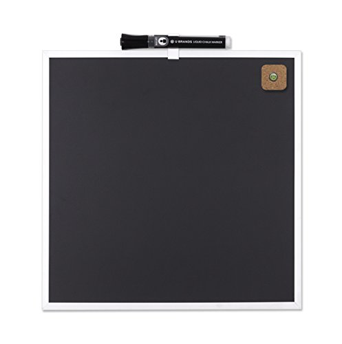 U Brands Magnetic Black Chalkboard, 11.5 x 11.5 Inches, Silver Aluminum Frame