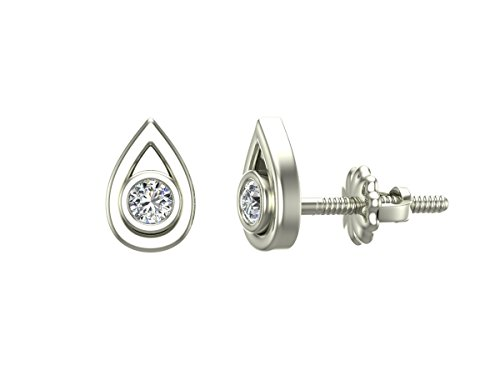 Diamond Earrings Tear-Drop Shape Studs 10K White Gold - Bezel Setting Screw Back Posts (0.10 carat total)