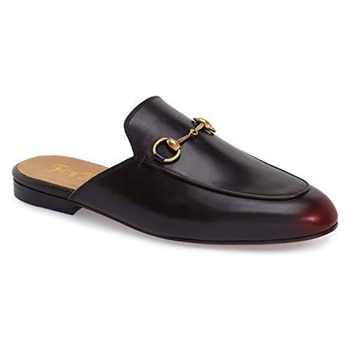 FOWT Faux Leather Black Mules Flats Shoes Like Gucci