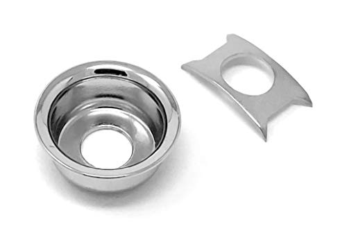 Chrome Cup Jack Plate for Fender Telecaster Tele Guitar Recessed Output Ferrule by VINTAGE FORGE   JPT90-CHR