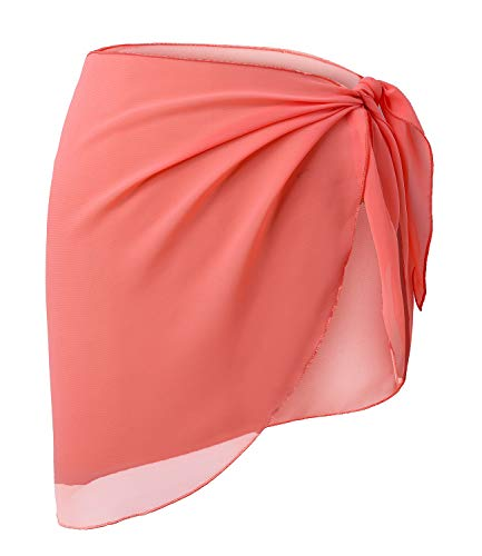 Shorts Black White Coral - LIENRIDY Women's Short Sarong Wrap Cover Up Swimwear Coral Orange Short