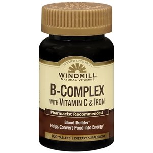 Windmill B-Complex Tablets with Vitamin C and Iron Supplement - 100 Ea by Windmill (B Complex With Vitamin C And Iron)