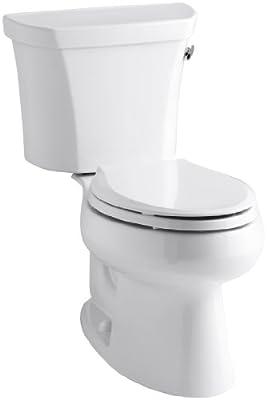 Kohler K-3998-RA-0 Wellworth Elongated 1.28 gpf Toilet, Right-Hand Trip Lever, White