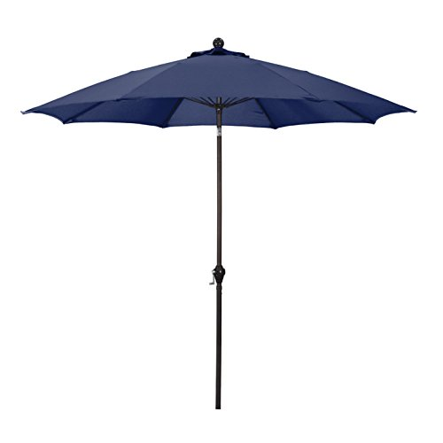 California Umbrella 9' Round Aluminum Pole Fiberglass Rib Umbrella, Crank Open, Push Button 3-Way Tilt, Bronze Pole, Navy Blue