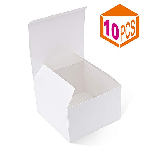 MESHA Recycled Gift Boxes 6x6x4 Inches White Gloss Paper Boxes Kraft Favor Boxes for Party, Wedding, Gift (10)