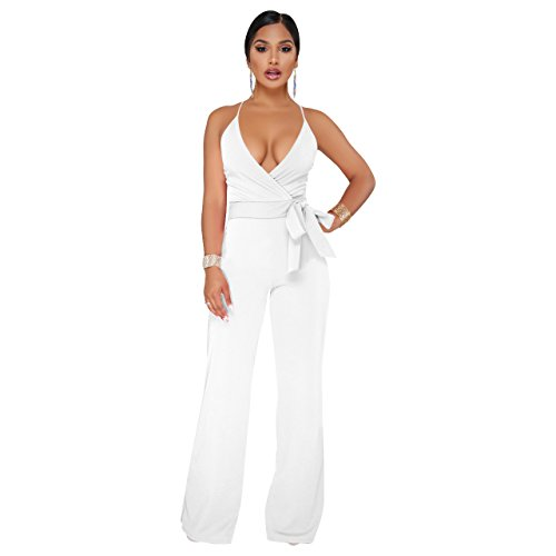 Ermonn Women's Wide Leg Jumpsuits Sexy Halter V Neck Sleeveless Wrap Wasitband Jumpsuit Rompers (Wrap Jumpsuit)
