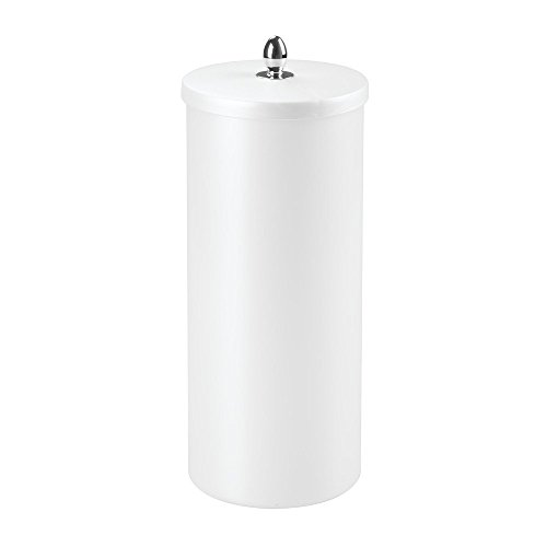 InterDesign Orb Free Standing Toilet Paper Holder – Spare Roll Storage for Bathroom, Pearl White/Chrome